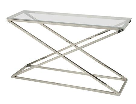 """Allan Copley Designs 20804-03-XX 16"""" Wide Excel Rectangle Console Table With XX Glass Top On Polished Stainless Steel Base, 1/2"""" Thick Lay-On XX Glass Top, """"X"""" Base Design"""