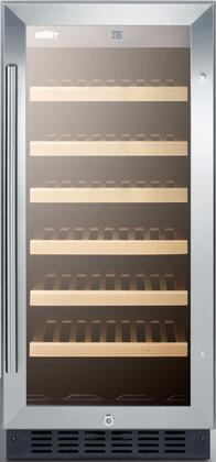 "Summit SWC1535B 14.75"" Freestanding Wine Cooler, in Stainless Steel"