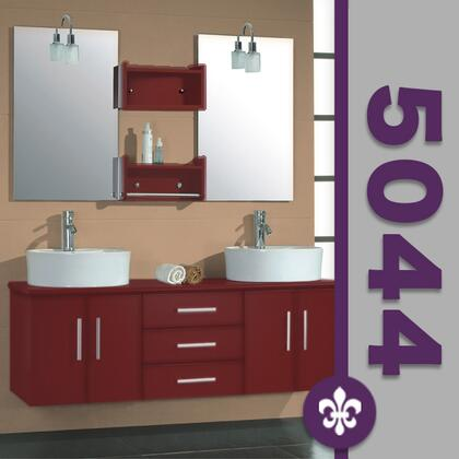 """Cambridge 5044X 59"""" Red Cherry Solid Wood Wall Mount Double Vanity Set with Faucets"""