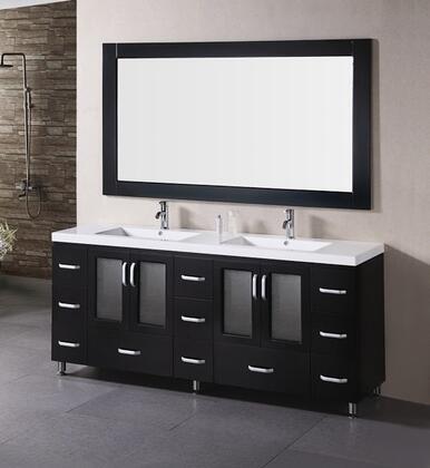 Design Element B72- Stanton 72 Double Sink Bathroom Vanity Set w/