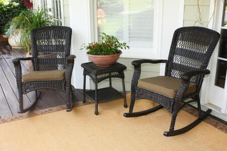 Tortuga PSR2-P Portside Plantation Rocker Set With 2 Plantation Rocking Chairs, 1 End Table, All-Weather Wicker & In