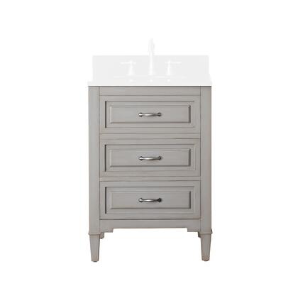 Avanity KELLY-V-GB Kelly Vanity Only with Antique Nickel Finished Hardware, 2 Soft-closed Drawers, Adjustable Height Levelers, Solid Poplar Wood and MDF in Grayish Blue Finish