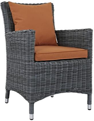 """Modway Summon Collection EEI-1935-GRY- 26"""" Dining Outdoor Patio Sunbrella Armchair with All-Weather Fabric Cushion, Synthetic Rattan Weave Material, Aluminum Frame, UV and Water Resistant in"""