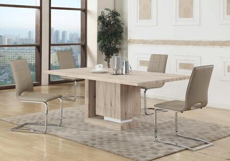 Chintaly TIFFANY-DT-LYDIA-SC TIFFANY DINING 5 Piece Set - Light Oak 3D paper Veneer Dining Table with 4 Two Tones Cantilever Side Chairs