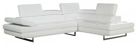 a761 italian leather sectional, right arm chaise, white 11