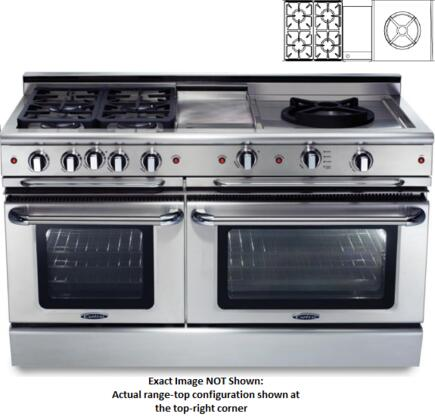 "Capital CSB604GWWL 60"" Precision Series Dual Fuel Freestanding Range with Sealed Burner Cooktop, 4.6 cu. ft. Primary Oven Capacity, in Stainless Steel"
