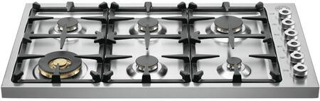 """Bertazzoni DB36600X 36"""" Professional Series Gas Cooktop with 6 Burners, Continuous Grates, Electronic Ignition, Control Knobs, in Stainless Steel"""