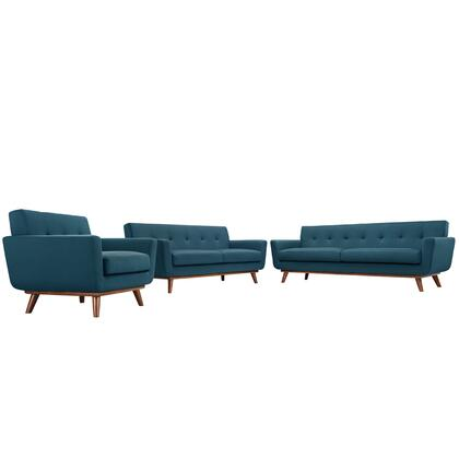 Modway EEI-1349 Engage Sofa, Loveseat and Armchair Set of 3 with Modern Design, Cherry Color Rubber Wood, Plastic Glides, 440 lbs. Weight Capacity and 100% Polyester Upholstery