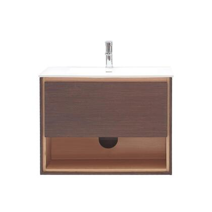 Avanity SONOMA-VS3 Sonoma Single Vanity with White VeraStone Top, Sink, Open Shelf, 1 Soft Closing Drawer, Wall Hung Design and Laminated Hardwood Plywood Construction