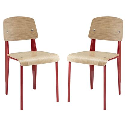 Modway EEI-1262 Cabin Dining Side Chair Set of 2 with Modern Design, Natural Wood Varnish Coating, Powder-coated Tubular Steel Frame, Plywood Seat and Backrest