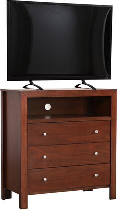 "Glory Furniture 34"" Media Chest with 3 Drawers, Open Storage Compartment, Hole for Wires, Simple Metal Hardware and Wood Veneers Construction in"