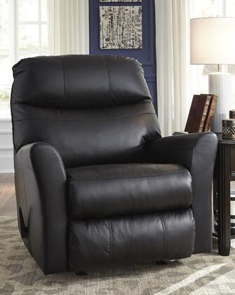 """Signature Design by Ashley 2950 Pranav 37"""" Rocker Recliner with Split Back Cushion, Metal Frame and Leather Match Upholstery"""