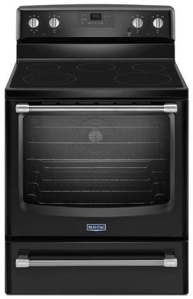 "Maytag MER8700DE 30"" Electric Freestanding Range with Smoothtop Cooktop, 6.2 cu. ft. Primary Oven Capacity, Storage in Black"