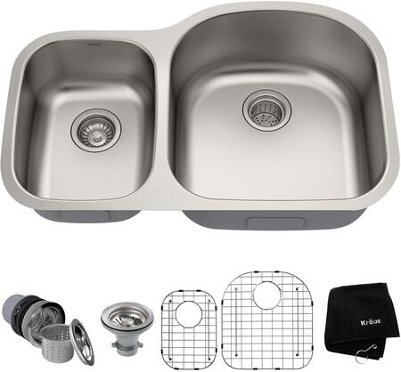 Kraus KBU2X Premier Series Undermount Double-Bowl Kitchen Sink with 16-Gauge Stainless Steel Construction, NoiseDefend, and Commercial-Grade Satin Finish