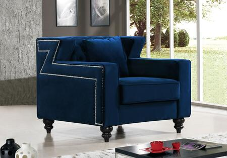 "Meridian Harley Collection 616X-C 39"" Chair with Velvet Upholstery, Tufted Back, Silver Nailheads and Contemporary Style in"