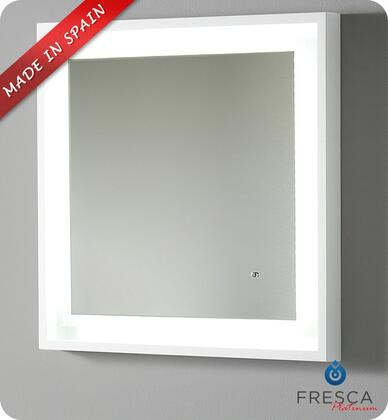 "Fresca Platinum Napoli FPMR7XXXWH XX"" Bathroom Mirror with LED Lighting, Touch Switch and Fog-Free System in Glossy White"