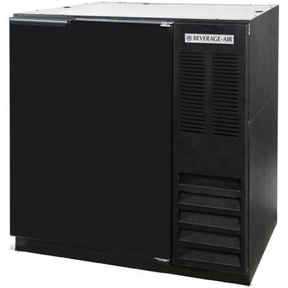 "Beverage-Air BB3 36"" One [Solid] Door, [Food Rated] Back Bar Refrigerator,  8.8 cu. ft. Capacity, with [Black] Exterior Finish, Side Mounted Compressor and 2"" Stainless Steel Top"