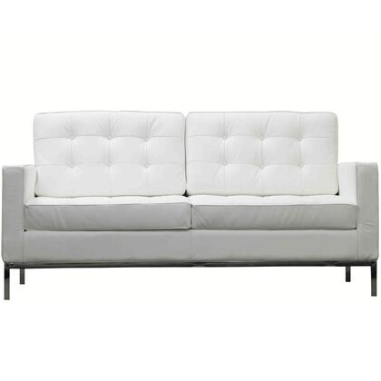 Modway EEI185WHI Loft Series Leather Stationary with Metal Frame Loveseat