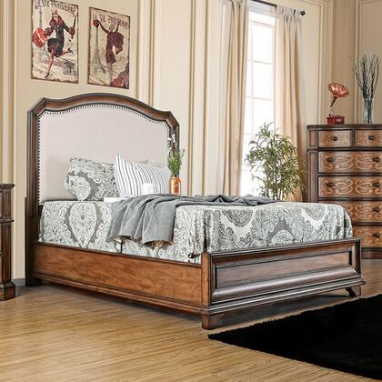 Furniture of America Emmaline CM7831X Bed with Transitional Style, Fabric Headboard Designs, Laser Cut Drawer Panel Design, Felt-lined Top Drawers in Warm Chestnut