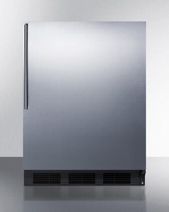 "Summit FF7BSSH 24"" Commercially Approved Energy Star Rated Compact Refrigerator with 5.5 cu. ft. Capacity, Automatic Defrost, Deep Shelf Space and Adjustable Glass Shelves in Stainless Steel"