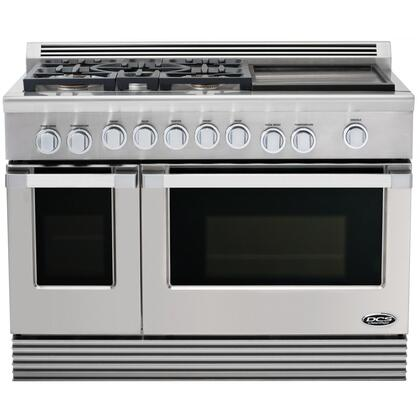 "DCS RGU485GDL 48"" Professional Series Liquid Propane Freestanding Range with Sealed Burner Cooktop, 5.3 cu. ft. Primary Oven Capacity, in Stainless Steel"
