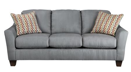 "Milo Italia Victoria MI-2785DTMP 82"" Stationary Fabric Sofa with Flared Wedge Arms, Tapered Legs and 2 Colorful Toss Pillows in"