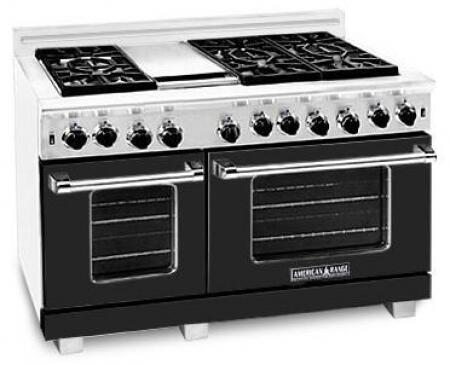 American Range ARR4842GDLBK Heritage Classic Series Liquid Propane Freestanding Range with Sealed Burner Cooktop, 4.8 cu. ft. Primary Oven Capacity, in Black