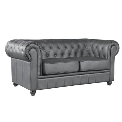 Fine Mod Imports FMI21982BLACK Chestfield Series Leather Stationary with Wood Frame Loveseat
