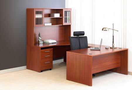 Unique Furniture 1C100011XXX Executive U Shaped Desk with Hutch