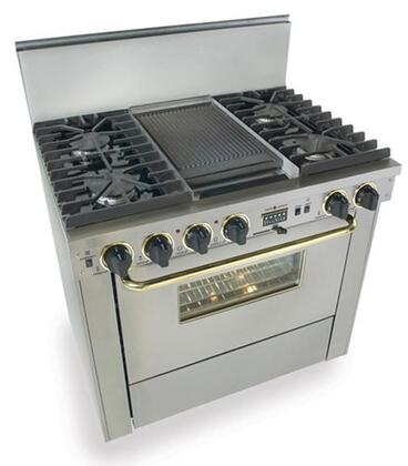"FiveStar TTN3377BSW 36""  Stainless Steel with Brass Dual Fuel Freestanding Range with Sealed Burner Cooktop, 3.69 cu. ft. Primary Oven Capacity,"