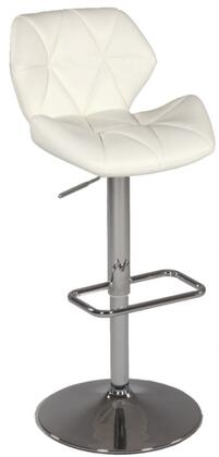 Chintaly 0645ASWHT Residential Bonded Leather Upholstered Bar Stool