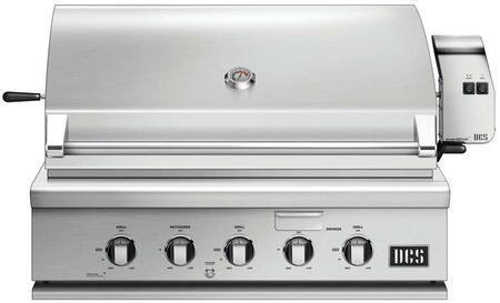"DCS BH136R 36"" Traditional Built-In Gas Grill with 3 Stainless Steel Burners, Rotisserie, Smoker Tray, and Drip Tray, in Stainless Steel"