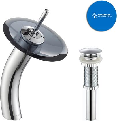 Kraus KGW1700PU10CH Waterfall Series Bathroom Vessel Lever Waterfall Faucet with Solid Brass Construction, Top-Quality Cartridge, and Matching Pop-Up Drain, Chrome Finish
