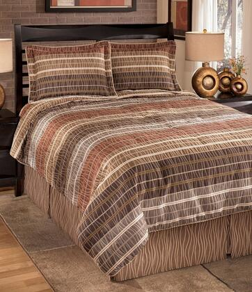 Signature Design by Ashley Wavelength Q033004 4 PC Size Top of Bed Set Includes 1 Oversized Comforter, 1 Bed Skirt, 2 Pillow Shams, Cotton and Polyester Material in Jewel Color