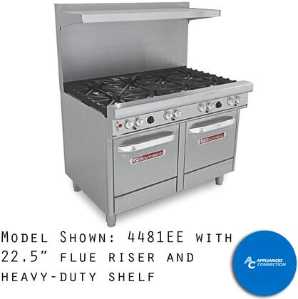 "Southbend 4481 Ultimate Range Series 48"" Gas Range with Eight Standard Non-Clog Burners and Standard Cast Iron Grates, Up to 264000 BTUs (NG)/192000 BTUs (LP)"