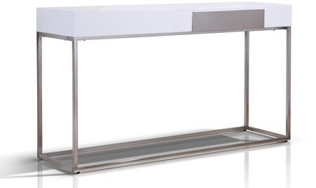 """Casabianca Giga Collection 53"""" Console Table with 1 Drawer, Stainless Steel Legs, Medium-Density Fiberboard (MDF) and Chrome Frame in"""