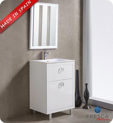"Fresca Platinum Due FPVN78XXWH XX"" Bathroom Vanity with 3 Soft Closing Drawers, Chrome Plated Legs and Integrated Ceramic Countertop and Sink in Glossy White"