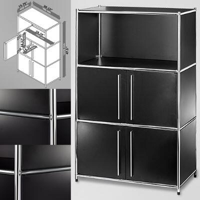 """Infinita 8144950124XX 30"""" Wide System4-SIMPLI Modular Bookcase with 3 Shelves and Two Double Doors, Steel Construction in X and Chrome Finish"""