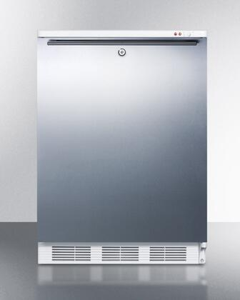 """AccuCold ALF620LSSXX 24"""" ADA Compliant Freestanding Medical All-Freezer with 3.2 cu. ft. Capacity, Manual Defrost, 3 Drawer Bins, and Adjustable Thermostat: Stainless Steel"""