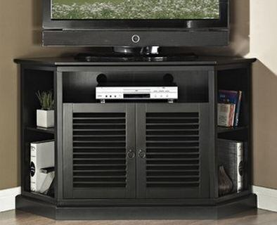 "Walker Edison W52CCRX 52"" Wood Corner TV Console with Double Louvred Doors and Side Media Storage in"