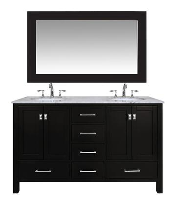 "Stufurhome Malibu GM641260C 60"" Espresso Double Sink Bathroom Vanity with 59"" Mirror, 6 Drawers, 4 Doors and Carrara White Marble Countertop in"