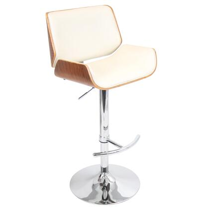 "LumiSource Santi BS-JY-SNT 39"" - 44"" Barstool with Swivel, Adjustable Height and Chrome Base in"