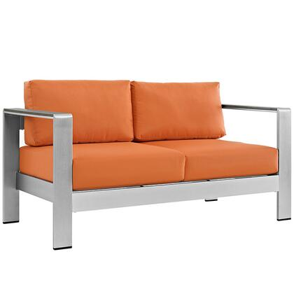 Modway EEI2267SLVORA Modern Patio Love Seat