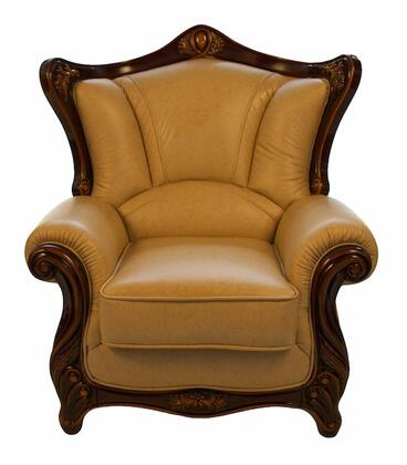 J. Horn 2209KHAKIC 2209 Series Leather Armchair with Wood Frame