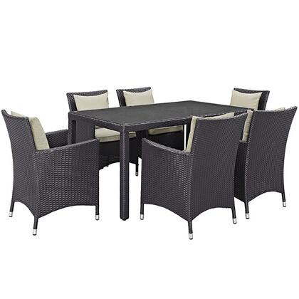 Modway Convene Collection 7 PC Outdoor Patio Dining Set with Powder Coated Aluminum Frame, All-Weather Fabric Cushions and Synthetic Rattan Weave Material in Espresso Color