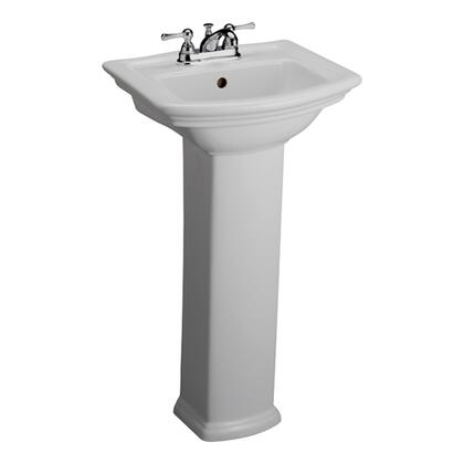 """Barclay 3-38WH Washington 460 Pedestal Lavatory, with Pre-drilled Faucet Hole Options, 6"""" Basin Depth, and Vitreous China Construction, in White"""