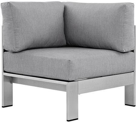Modway EEI2264SLVGRY Shore Series  Aluminum Frame  Patio Chair