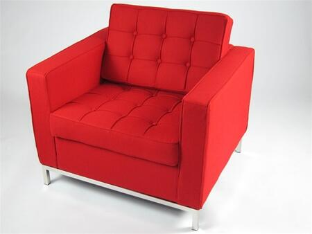 Fine Mod Imports FMI22141RED Button Series Wool Armchair with Stainless Steel Frame in Red