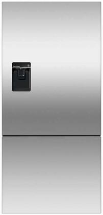 Fisher Paykel RF170BX Bottom Mount Counter Depth Refrigerator with 17.6 Cu. Ft. Total Capacity, Ice and Water Dispenser, Door Storage and Pocket Handle, in Stainless Steel