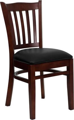 """Flash Furniture HERCULES Series XU-DGW0008VRT-MAH-XXV-GG 19.25"""" Heavy Duty Mahogany Finished Vertical Slat Back Wooden Restaurant Chair with Vinyl Seat, Commercial Design, and Plastic Floor Glides"""